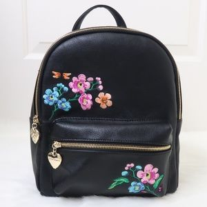 Betsey Johnson Floral Embroidery Midi Backpack